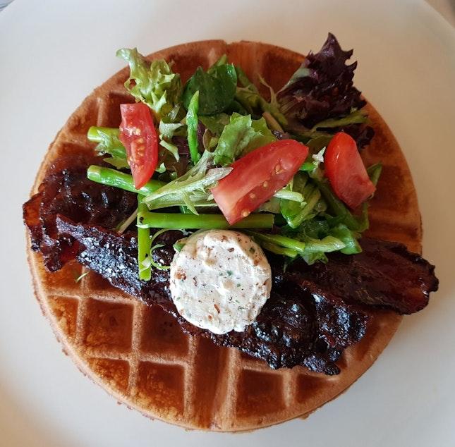 Bacon bourbon waffle ($22)