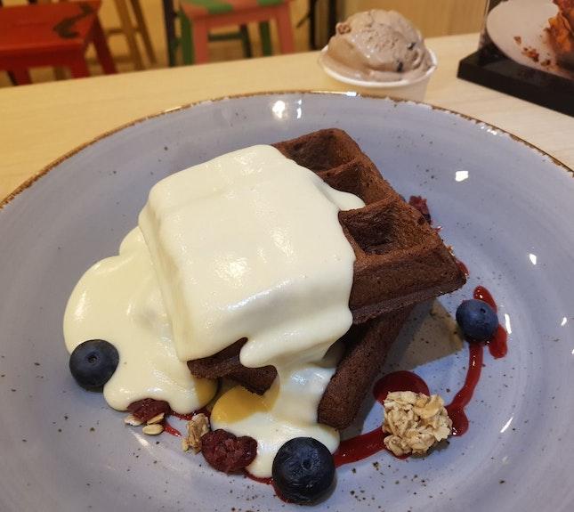 Brownie waffle with Cheese Sauce & Grandma's Favorite Ice Cream ($10.5)