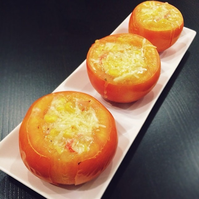 Made stuffed tomatoes with corn, ham, crab meat & cheese as tonight's post gym fuel.