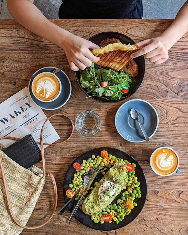 Our weekly weekend routine: Grilled cheese sandwich and avocado toast.