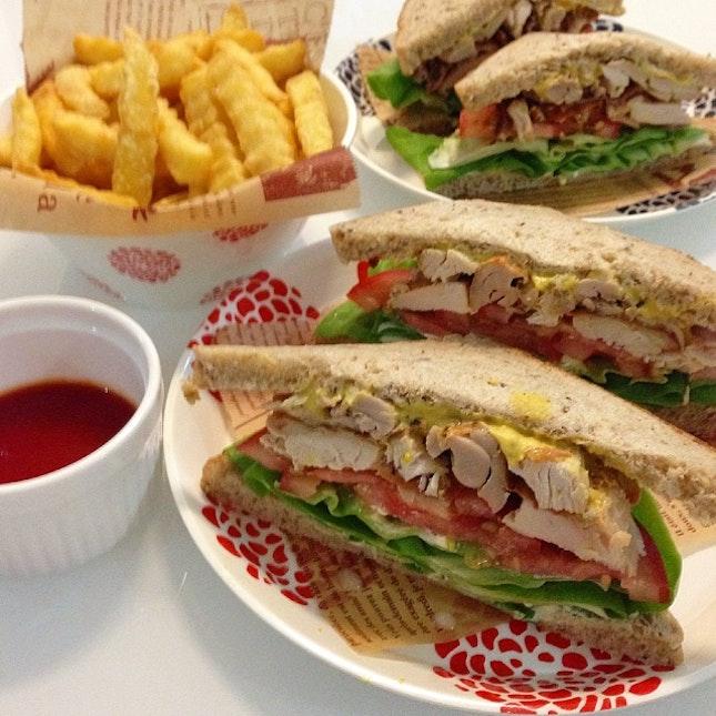 Roast Chicken Sandwich With Fries