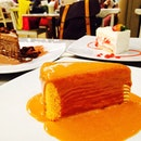 The legendary thai milk tea crepe cake!