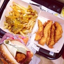 Bacon Swiss Chicken Tenders Sandwich, Chilli Cheese Fries, Chicken Tenders