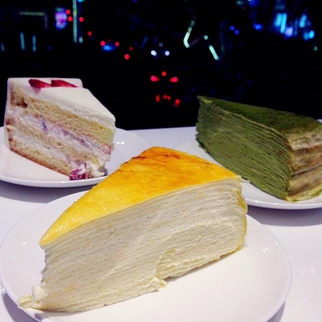 Signature Mille Crêpe Cake, Green Tea Mille Crêpe Cake, Strawberry Shortcake