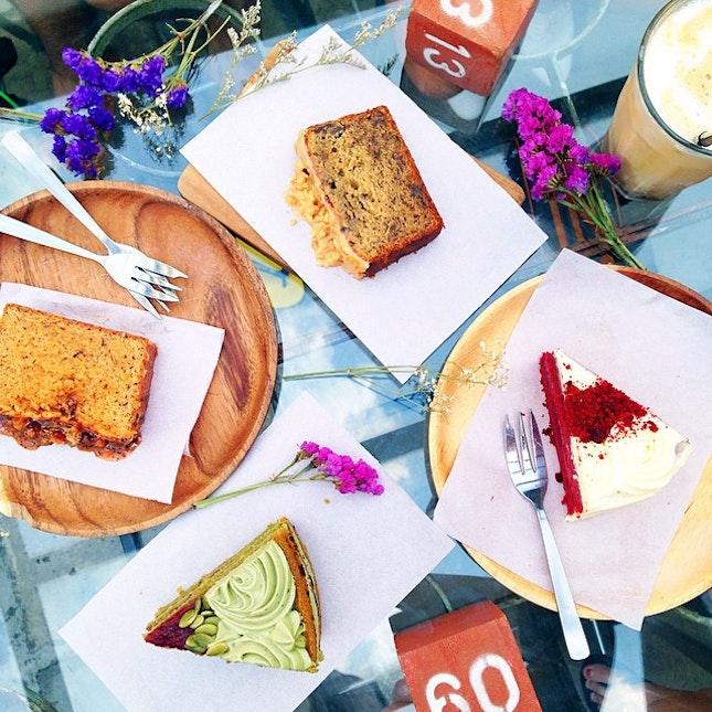 Banana Peanut Butter Loaf, Thai Milk Tea Loaf, Matcha Strawberry Cake, Red Velvet Cake