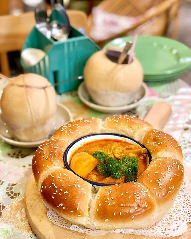 Flower Bread with Curry Chicken.