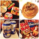 Round II ding ding ding #yolo #supper #maggimania #pork #beer #tiger #radler #chips #omnomnom #thisiswhyimfat