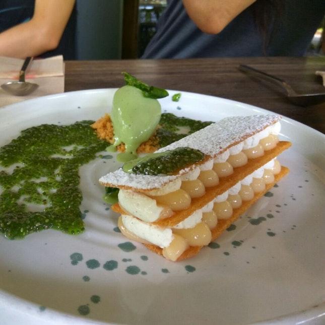 Lemon Tart With Basil Ice Cream