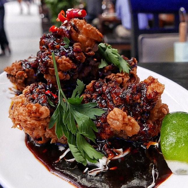 Sticky Nam Prik Pao Fried Chicken