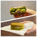 Imagawayaki 'wheel cake/red bean cake', made of matcha batter filled with sweet azuki bean paste and matcha custard cooked in a special pan!