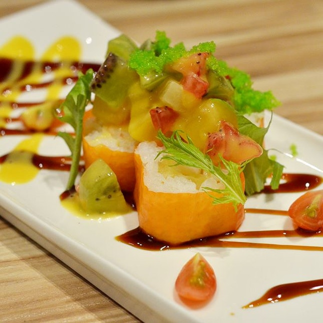 Some innovative sushi creations served here - Fruit & Ebi Tempura Vegetable Sheet Roll comprising vegetable and fruits to signify the healthy eating movement.