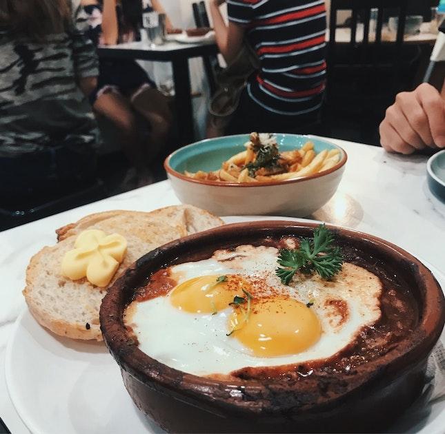Tomato Egg Relish ($15) & Poutine ($8)