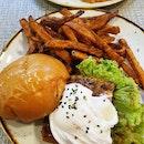 Unagi Burger With Sweet Potato Fries