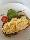 Pesto Scrambled Eggs On Brioche