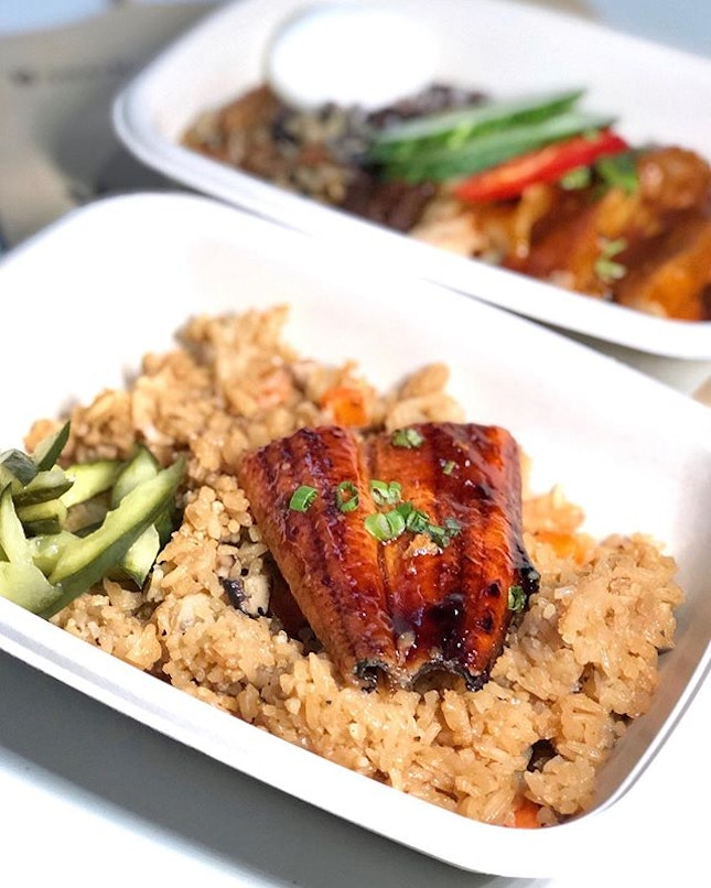 🥰Check out our delicious Dinner- Unagi Kabayaki and Nasi Lemak Ayam Masak Merah delivered to us by the lovely people at @graincomsg .