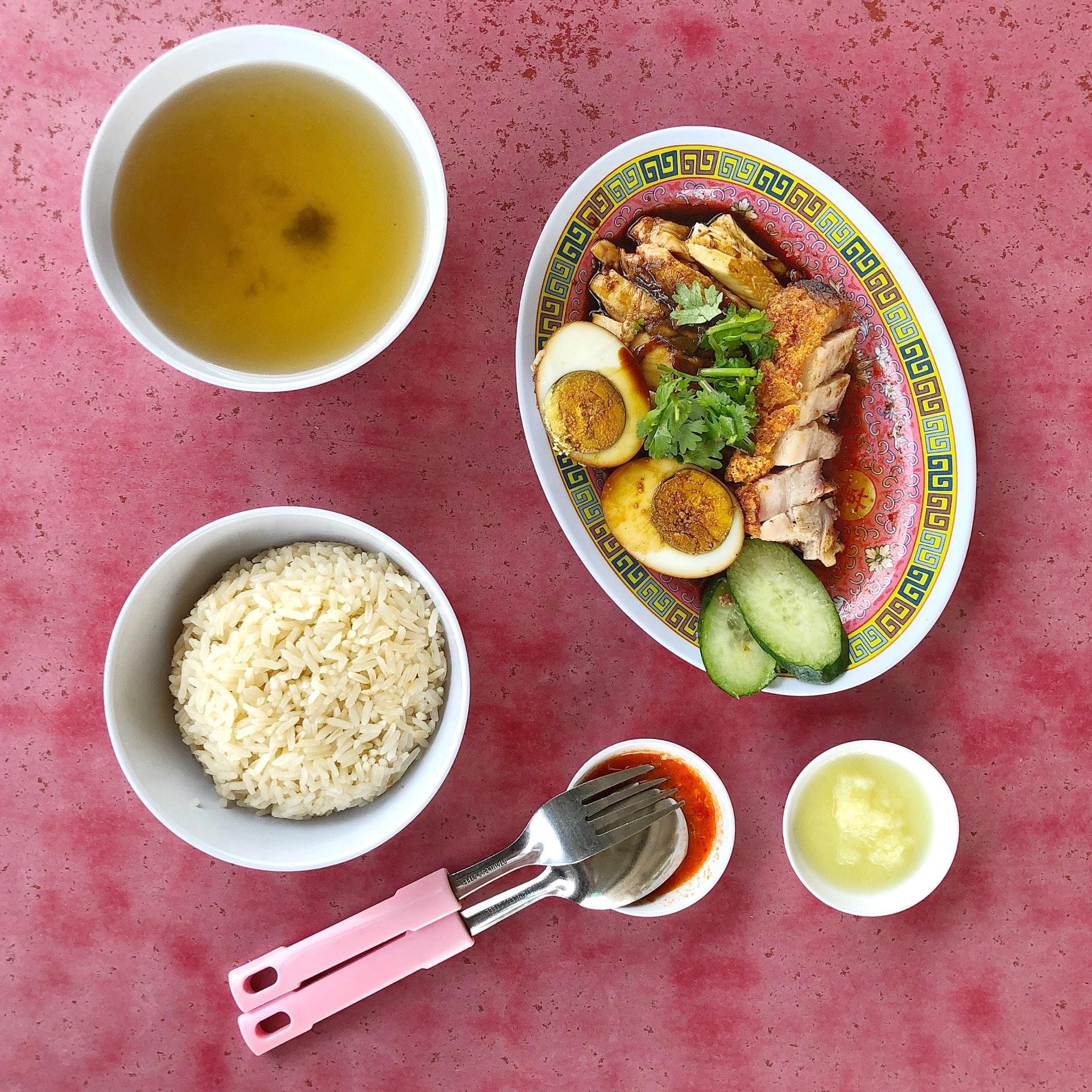 Soya Sauce Chicken Rice $5.6