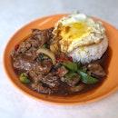 Black Pepper Beef Rice w/ Egg $5.2