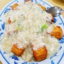Crab meat over fried tofu.