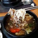 Lunch - a bowl of piping hot beef bulgogi with rice ($10) on this super cold rainy afternoon!