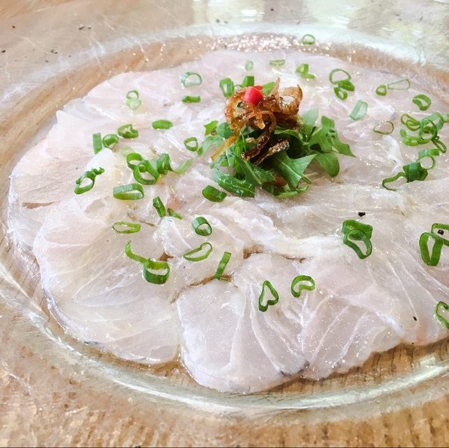 Barramundi Carpaccio with Orange Shallot Oil