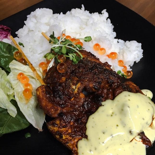 Little India-style Negitoro Don with Madras Spices & Saffron Kafir Lime Aioli