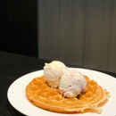 Waffles with Amarena Cherry, Rum & Raisin Gelato