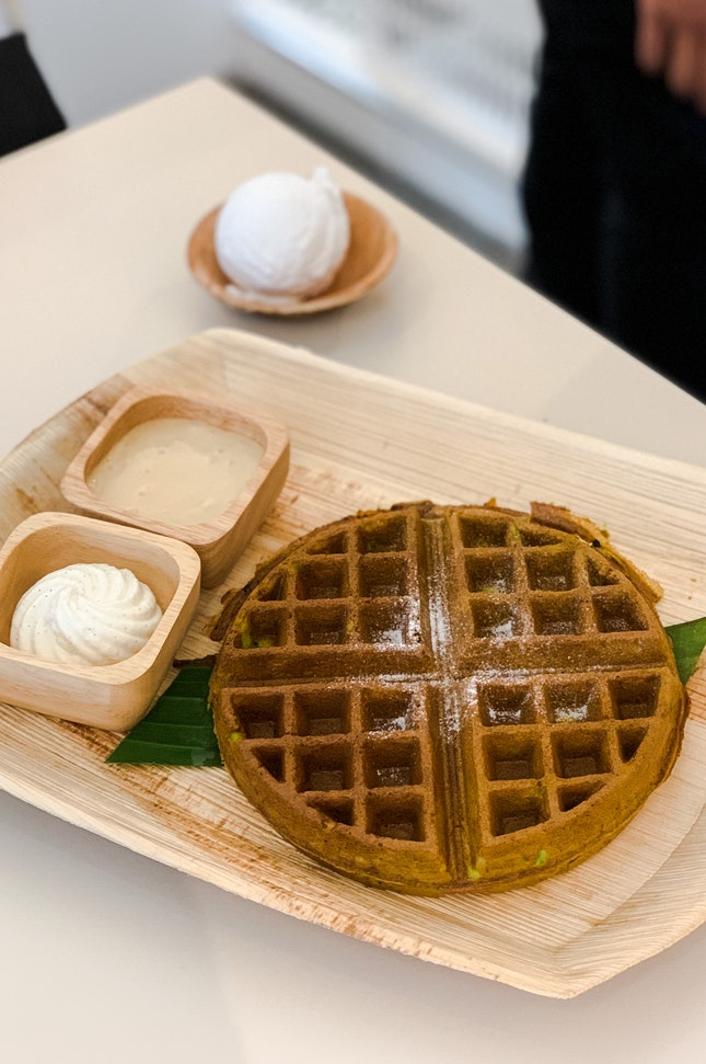 Pandan Waffles with Pure Coconut Gelato