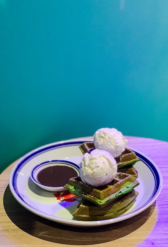 Pandan Gula Melaka Waffles with Lemongrass Pandan & Smoked Milk with Cacao Nibs Ice-Cream, with Childhood Milo Sauce