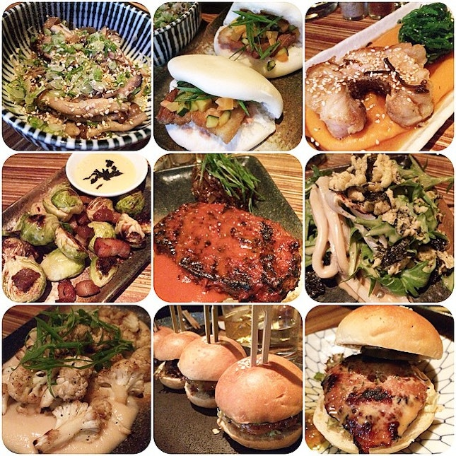 1⃣ BUTTER BRAISED MUSHROOMS: soy and sesame  2⃣ SMOKED PORK BUNS: pickled daikon & ginger, umeboshi hoisin  3⃣ PAN ROASTED GROUPER: sweet potato purée, sesame soy, wakame  4⃣ CRISPY BRUSSEL SPROUTS: mirin glazed bacon, karashi 5⃣ CHARGRILLED MEATLOAF: chili glaze, honey tamari shallots  6⃣ SLOW COOKED OCTOPUS: cauliflower purée, shichimi  7⃣ YUZU KOSHO CAULIFLOWER: spring onion  8⃣ TSUKUNE SLIDERS: pickled kyuri, tare aioli @neonpigeonsg @igsg #igsg #singapore #foodpornasia #setheats #burpple #izakaya #japanese