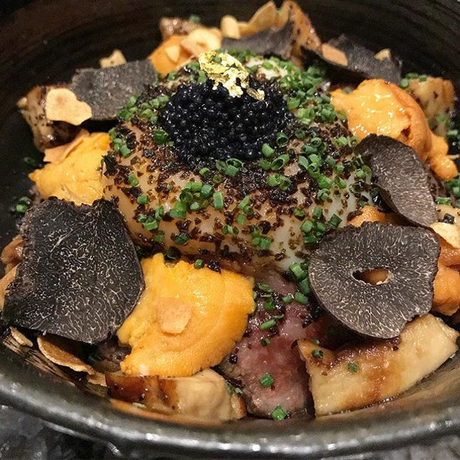 if this is heaven, i wanna swim in the bowl forever - Premium Kagoshima A5 Striploin Wagyu Beef Donburi with Foie Gras, Sea Urchin and Onsen Egg, topped with generous shavings of Black Truffles and Caviar.