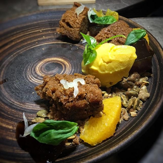 Spiced Pumpkin Cake, Butternut Ice Cream, Gula Melaka Jelly, Pomelo, Garden Herbs ($18)