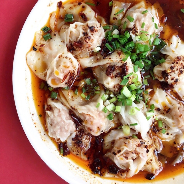 红油抄手 (Hong You Chao Shou) Sze Chuan Chili Dumplings [$4.50]