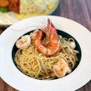 Prawn & Shimeiji Spaghetti - Aglio Olio [$9.90]