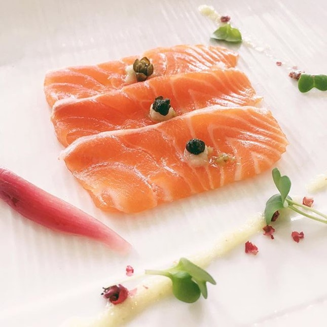 Marinated Salmon with Yuzu Ginger Dressing [$38 for four courses].