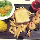 Teriyaki Burger with Shrimp Skewer - not burger-like at all.