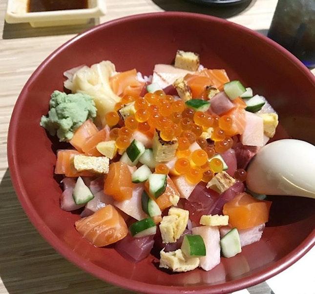 Happiness comes with a bowl of Chirashi Don @thesushibar_sg .