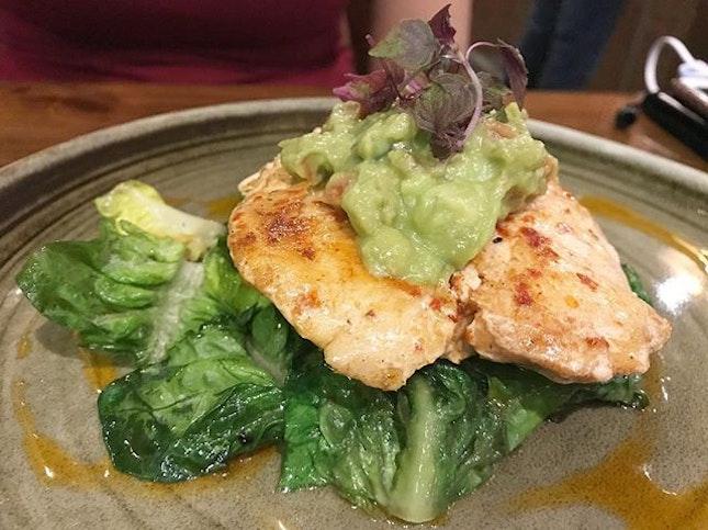 Southwestern Chicken - Grilled Chilli-marinated chicken breast, sautéed kale and fresh guacamole.