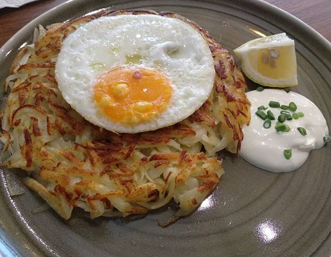 Original rosti ($11), prawn bacon aglio olio ($14) and sparkling yuzu tart ($8)(from windowsill pies).