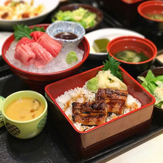 Una Jyu Sashimi Set —$42.80 Farm-bred premium unagi with imported Hokkaido rice, chawanmushi and greentea pudding.