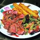 Ribeye Steak —$25 180g of superbly juicy ribeye done medium.