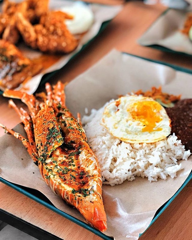 Lobster Nasi Lemak—$22 Grilled with cheese and herbs, i like how fresh the lobster is though it ain't exactly the largest lobster around.