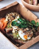 Smashed Avo—$18 Added smoked salmon with eggs for additional $8 to the sourdough that comes with real smashed avocado, herbs and feta.