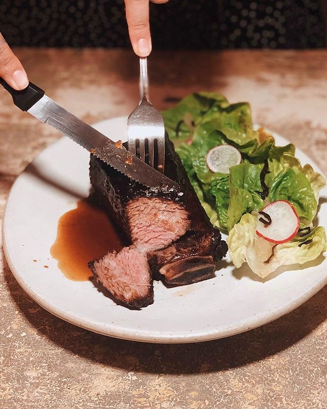 Slowcooked Shortrib —$29.90 The sous vide beef still pinkish inside, covered in that caramelised burnt soy, melts in your mouth.