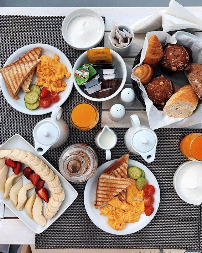 Eggs, toasts, fruit platter and their local greek yogurt.