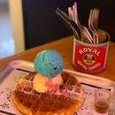 Cookie Monster and Raspberry Passionfruit ice cream with waffles.