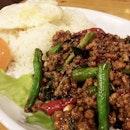 Basil pork with rice set..