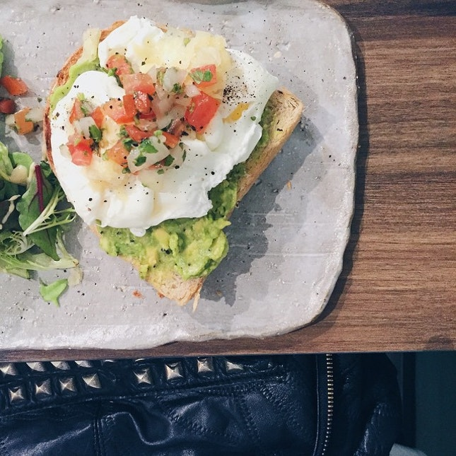Rather filling brunch of thick fluffy bread, creamy avocado and poached eggs #VSCOcam #vscosg #vscofood #sgcafe #sgcafefood #sgeats #burpple #food52