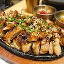 Grilled Teriyaki Chicken on Hot plate by @sbcdsingapore.