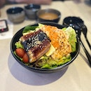 Yummy and healthy unagi & mentaiko salmon bowl with free flow tea and miso soup!