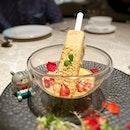 Spiced satay ice-cream with peanuts and pomegranate!
